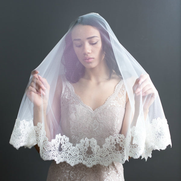 vintage style spanish lace veil with blusher