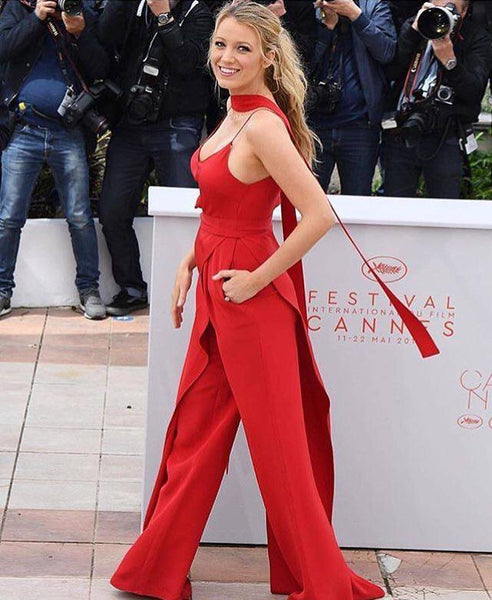 Blake Lively Cannes Film Festival Red Jumpsuit
