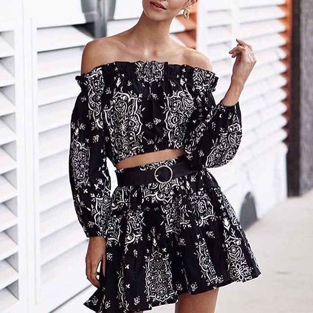 Steele Pippa Crop Stella Skirt Off The Shoulder Boho Matching Set