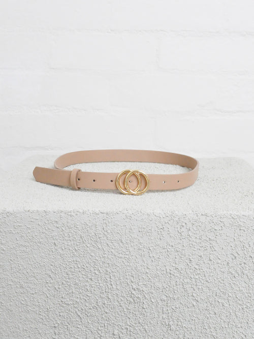 Double Circle Gucci Belt Nude