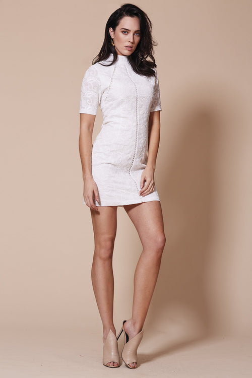 Paloma High Neck Dress | White