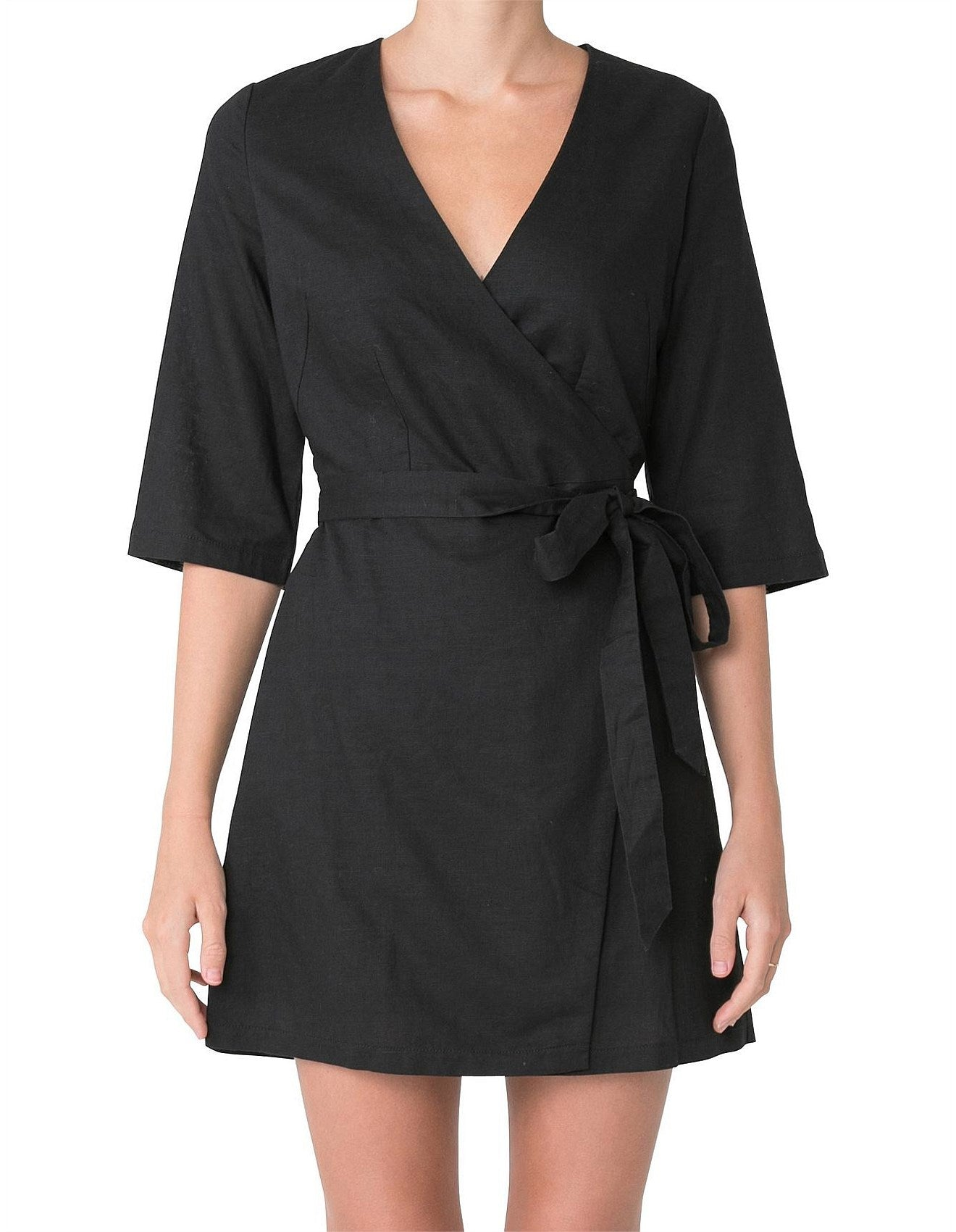 Mercer Linen Wrap Dress | Black
