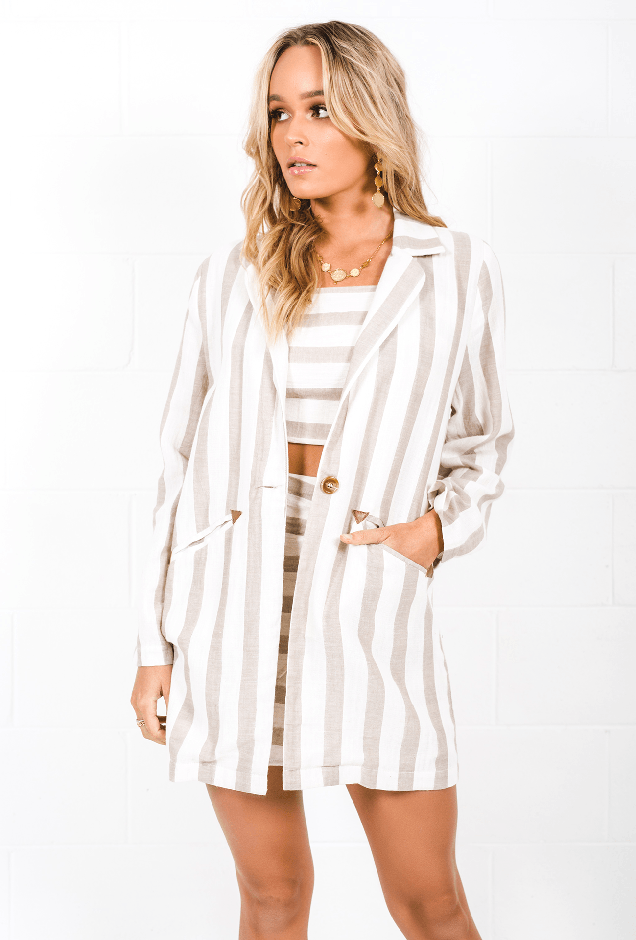 New Wave Blazer | Beige/White Stripe