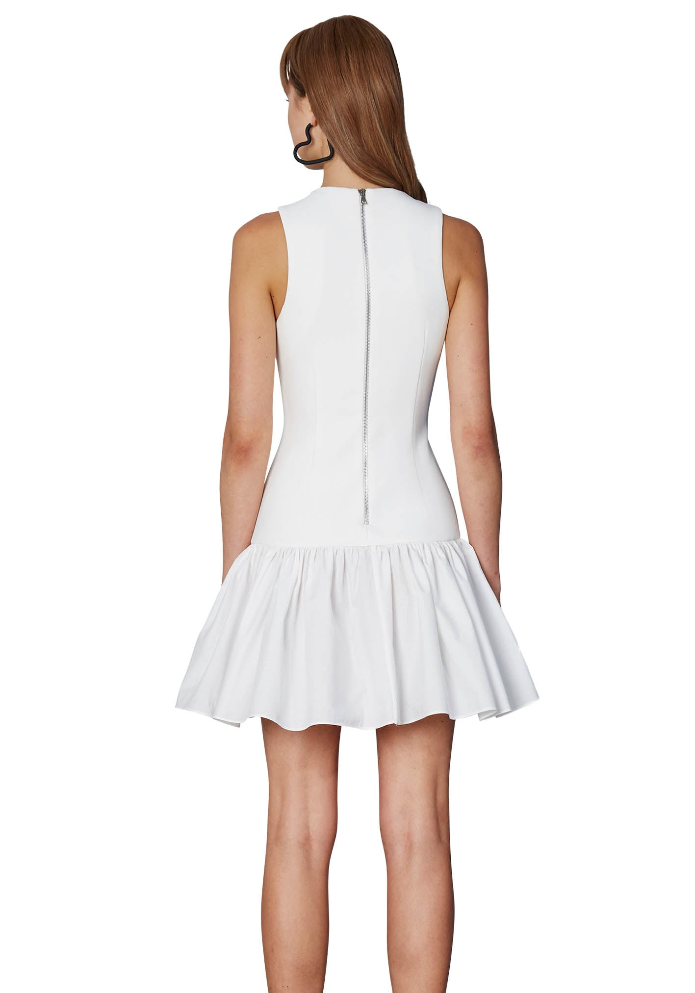 White Cage Panel Mini Dress