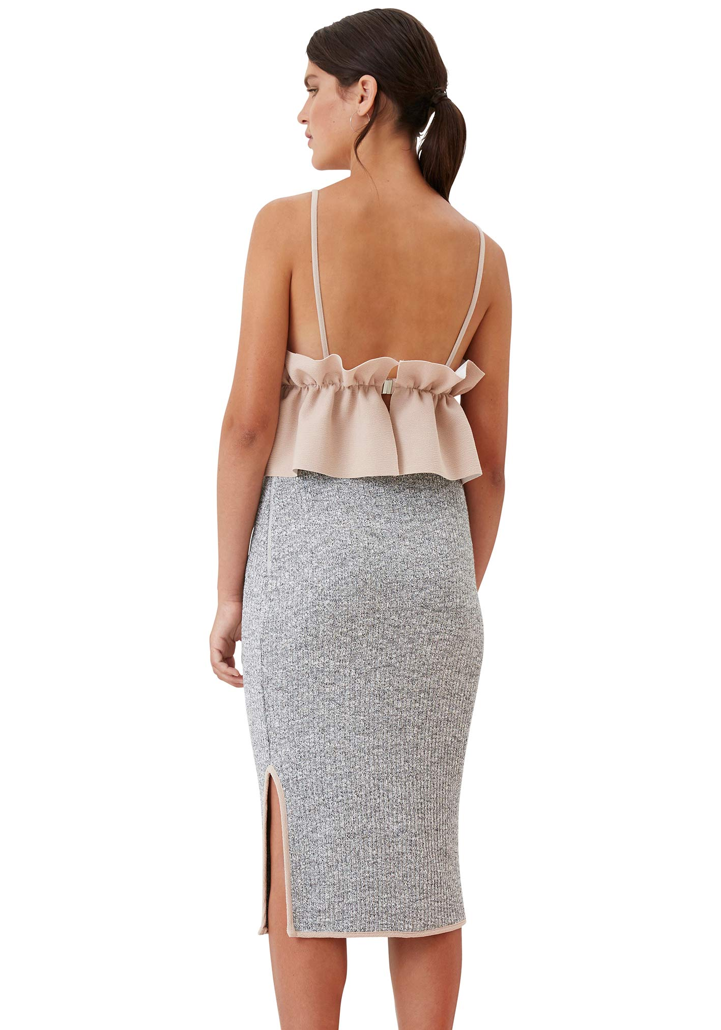Tv Knit Piped Pencil Skirt