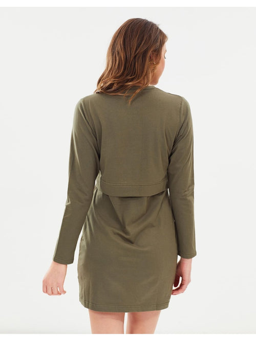 Pia Long Sleeve Dress | Khaki