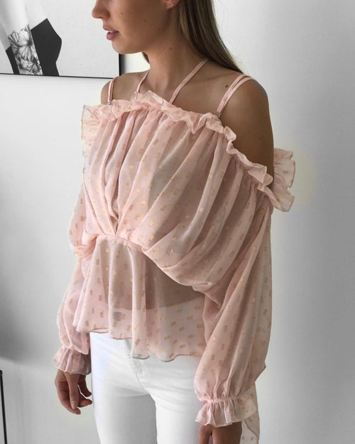 Gold Leaf Shell Top | Pink