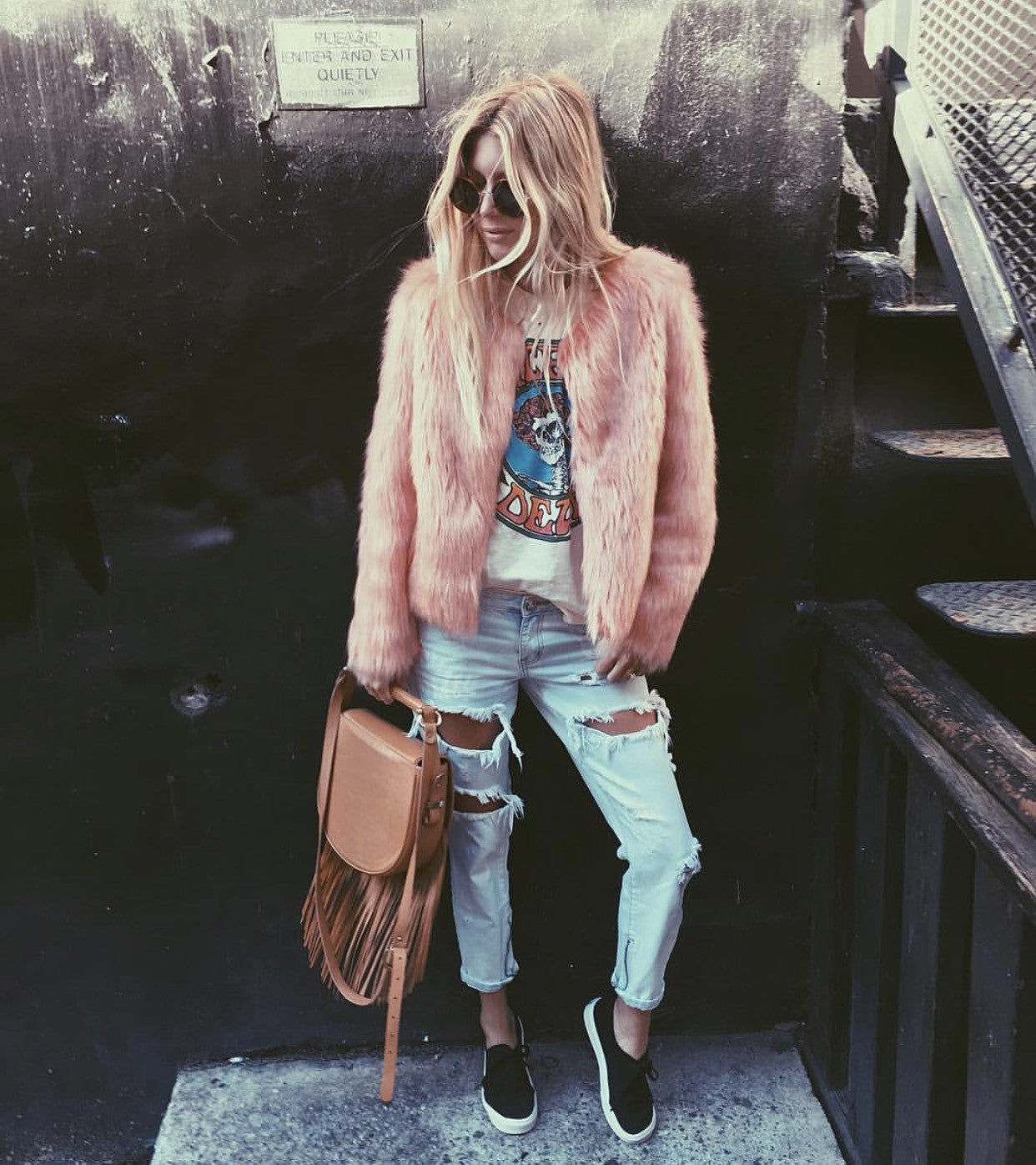 Style Blogger In Unreal Dream Jacket faux Fur Peach