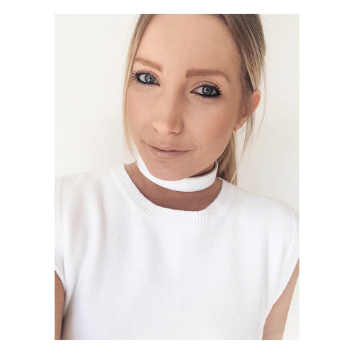Sarah Franklin White Leather Choker Asilio Top