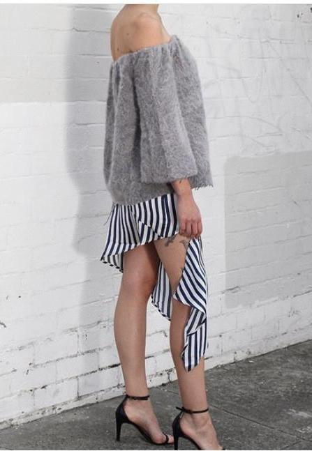 Third Form Fall Through Skirt Stripe Asymmetrical