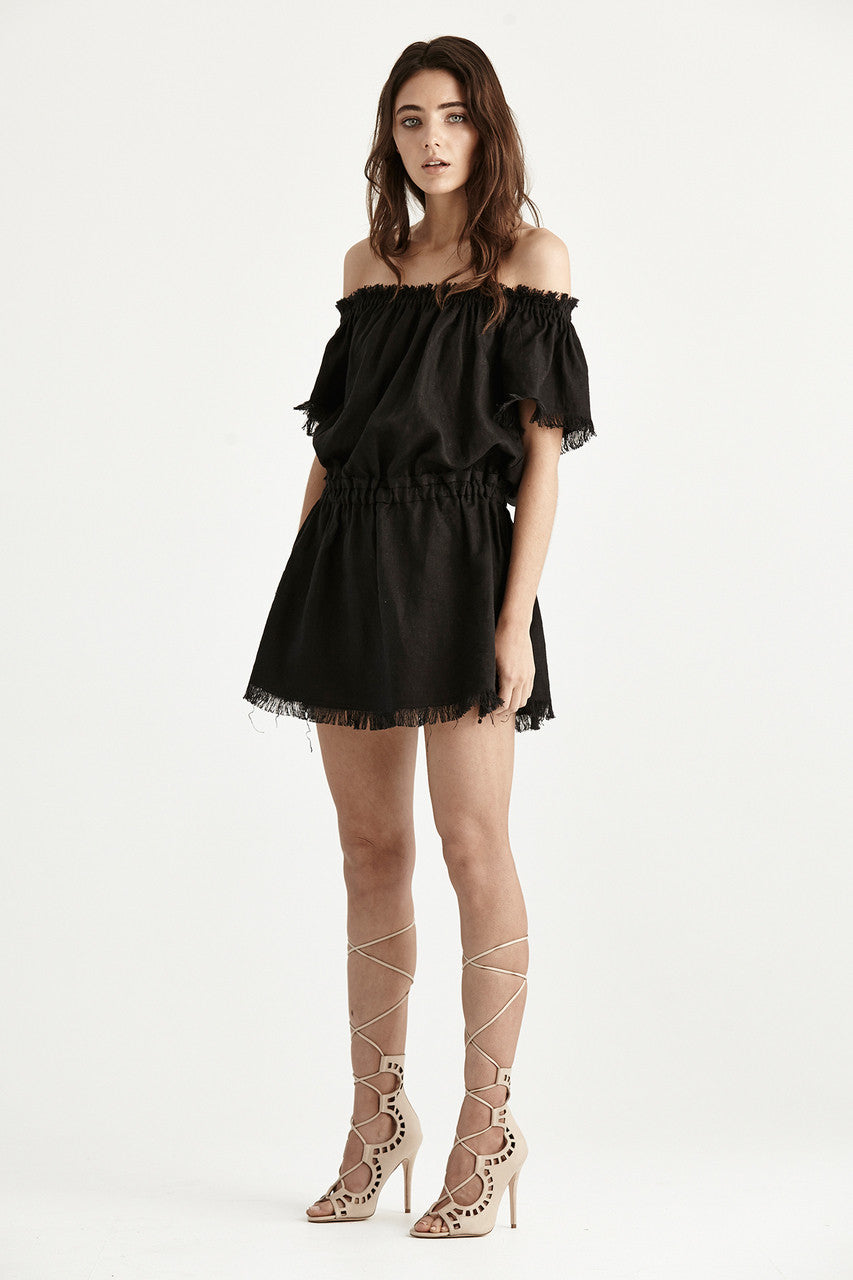 Steele Nakoma Dress Black Linen Frayed Edge Saylor & Saige