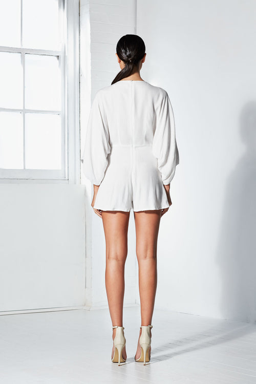 Knotted Playsuit | White