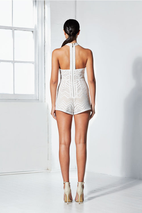 Jagged Playsuit | White