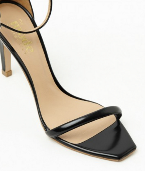 Square Toe Sandal | Semi Patent Black