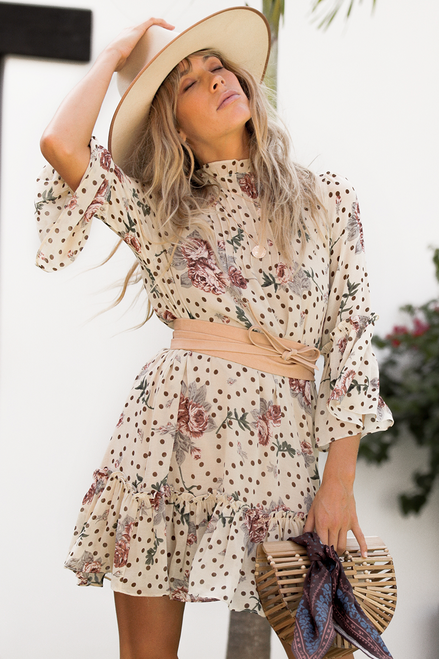 Dani Swing Dress | Nude Floral