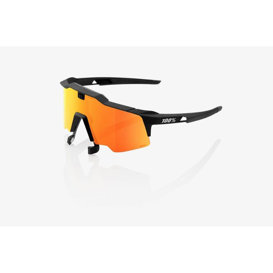 100% Percent Speedcraft Air Sunglasses Soft Tact Black - HiPER Red Mirror Lens-Misc-The Gear Attic