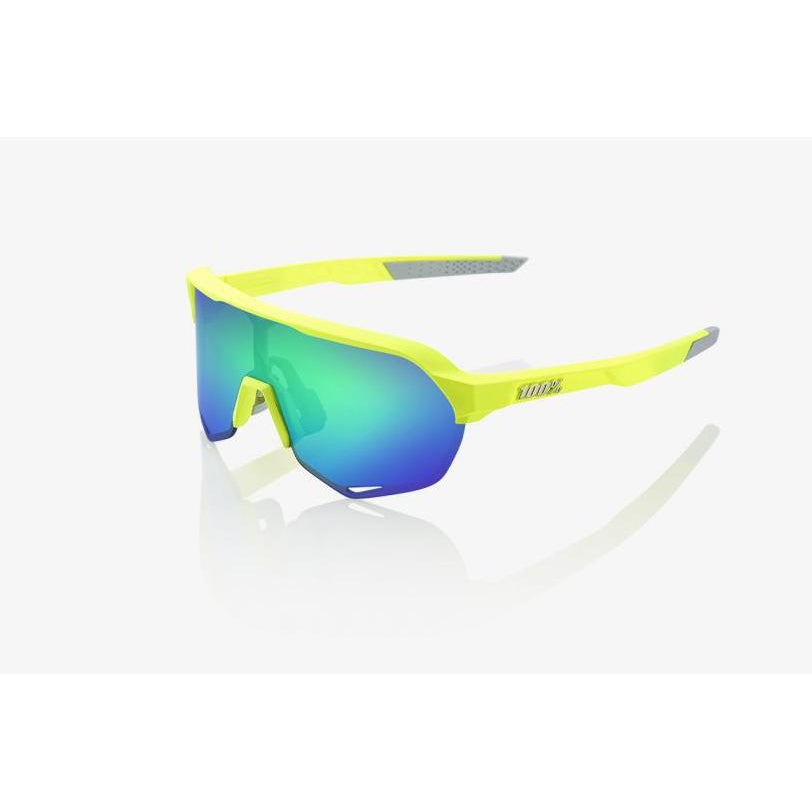 100% Percent Cycling S2 Sunglasses - Matte Fluorescent Yellow - Green Multilayer Mirror Lens-Misc-The Gear Attic