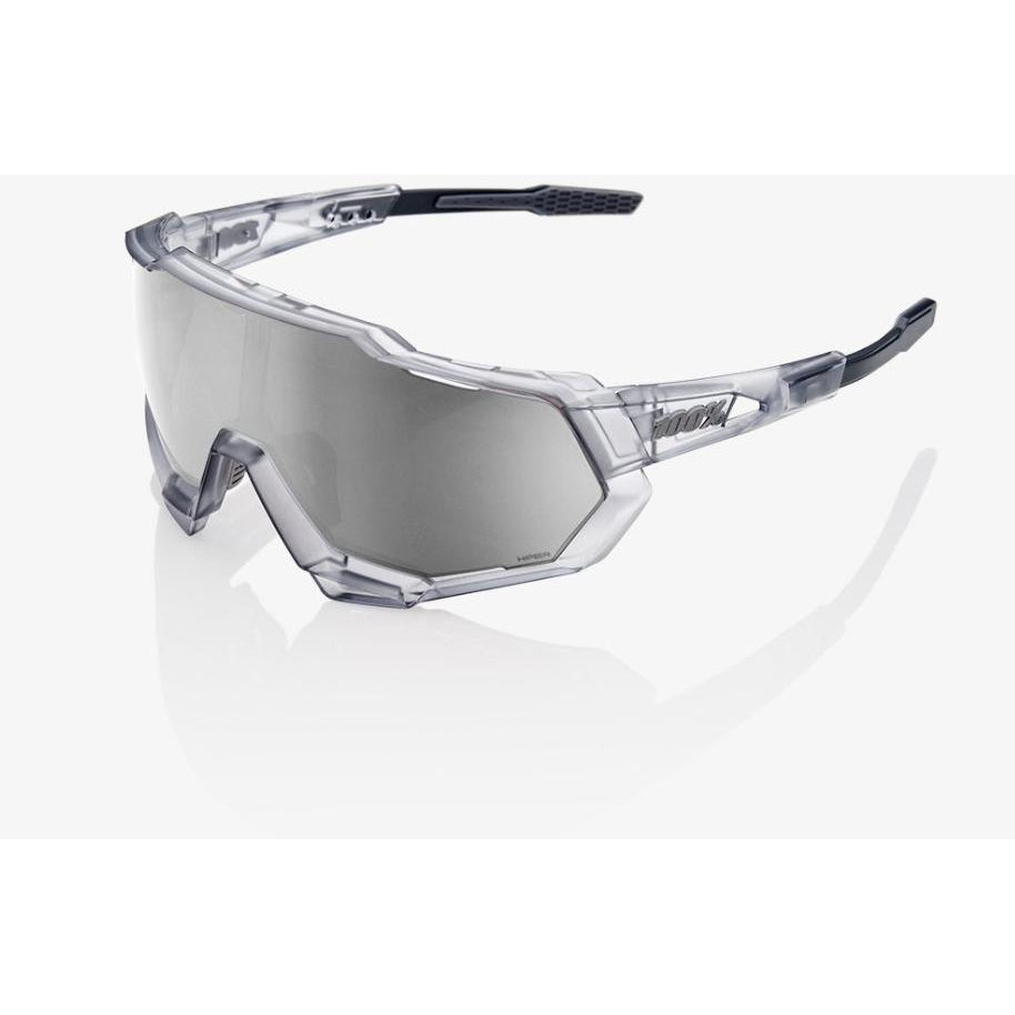 100% 100 Percent Cycling Sunglasses Speedtrap Matte Translucent Crystal Grey - HiPER Silver Mirror Lens-Misc-The Gear Attic