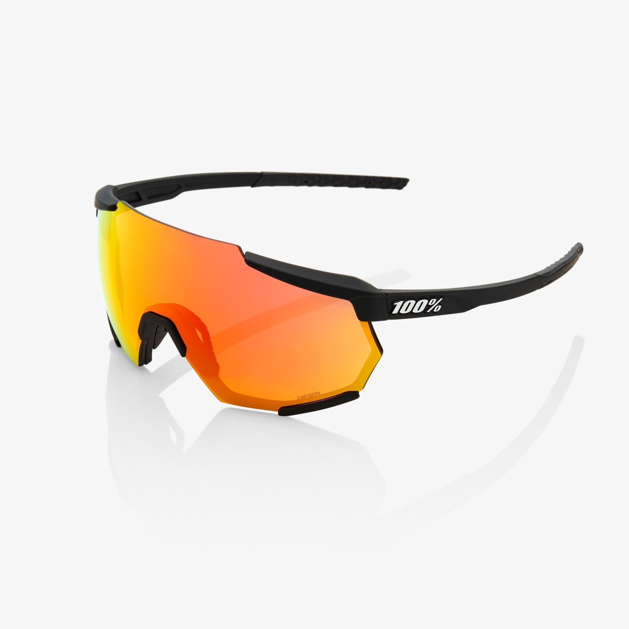 Ride 100% Sunglasses Racetrap - Soft Tact Black - HiPER Red Multilayer Mirror Lens