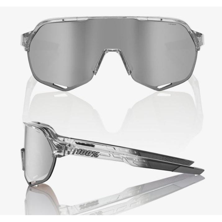 100% Percent Cycling S2 Sunglasses - Polished Translucent Grey - HIPER Silver Mirror Lens-Misc-The Gear Attic