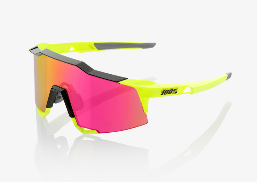 100% Cycling Unisex Adult Speedcraft - Polished Black/Fluorescent Yellow - Purple Multilayer Mirror Lens