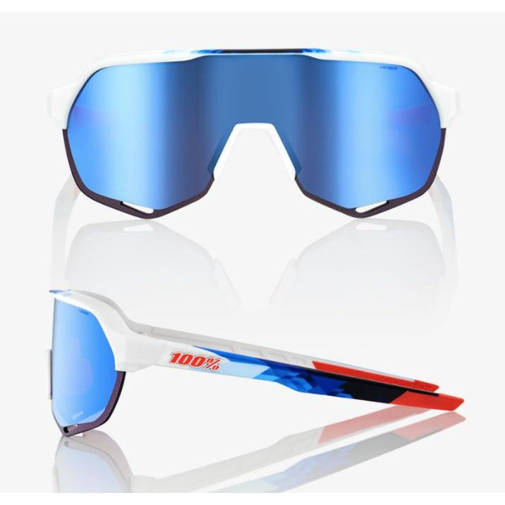 100% Percent Cycling S2 Sunglasses - Matte White / Geo Print - HiPER Blue Multilayer Mirror Lens-Misc-The Gear Attic