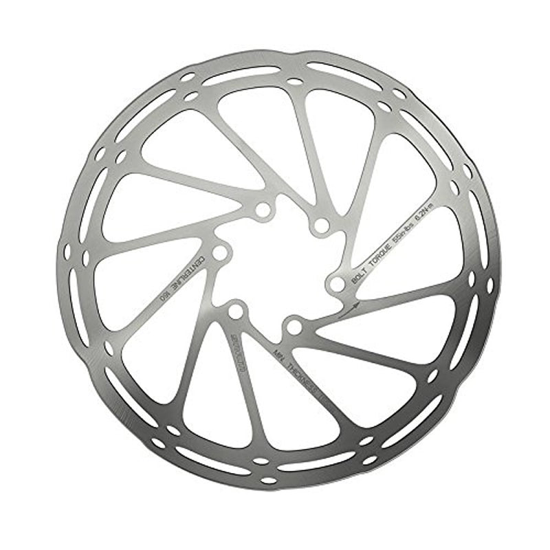 SRAM Bicycle Disc Brake Centerline Rounded Rotor Silver, 180mm-Sporting Goods > Cycling > Bicycle Components & Parts > Brake Rotors-The Gear Attic