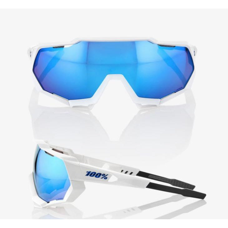 100% 100 Percent Cycling Sunglasses Speedtrap - Matte White - HiPER Blue Multilayer Mirror Lens-Misc-The Gear Attic