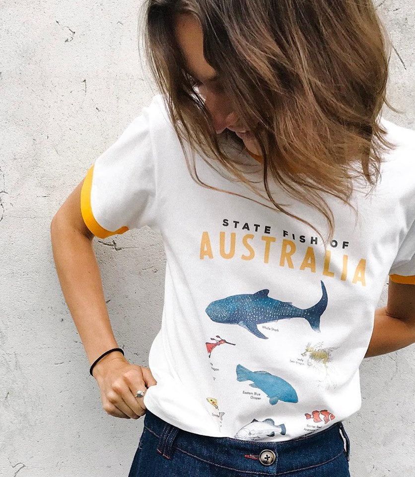 Ryder State Fish Tee - White Cotton