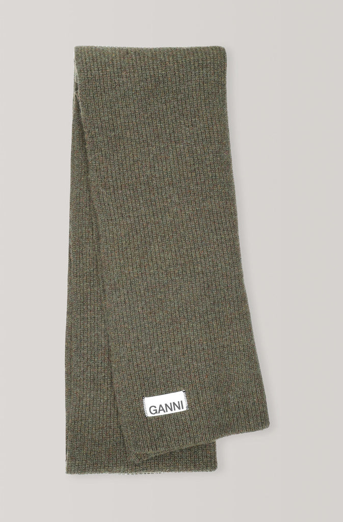 Ganni Knit Scarf Olive winter wool pas mal nyc greenpoint brooklyn williamsburg boutique independent fashion lifestyle concept store