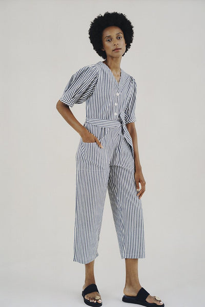 Wray Norma Jumpsuit - Blue Stripe Cotton Shirting