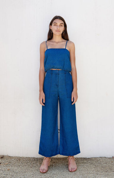 First Rite Cargo Trouser Indigo Linen pas mal nyc greenpoint brooklyn williamsburg boutique independent fashion lifestyle concept store