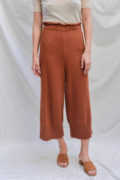 Diarte Larry Rib Hem Trouser - Terracotta Merino  made in Spain Satin Dress PAS MAL NYC GREENPOINT WILLIAMSBURG BOUTIQUE SHOPPING BROOKLYN INDEPENDENT SHOP SMALL03