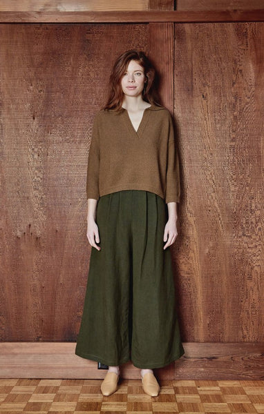 First Rite Pleated Culotte - Moss