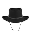 tio y tia gambler wool hat in night leather chin cord western cowboy style handmade in America packable hat Janessa Leone Pas Mal Greenpoint Brooklyn Williamsburg shopping local concept store boutique lifestyle independent shop