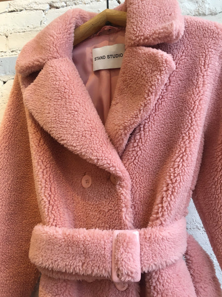 Stand Studio Faustine faux fur pale pink teddy coat Swedish design Pas Mal Greenpoint Brooklyn Williamsburg shopping local concept store boutique lifestyle independent shop acne studios the arrivals sustainable fur