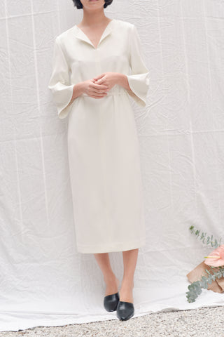 Leha Pont Belted Dress - White Matte Crepe + Rose Gold