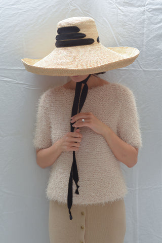 Lola Espartina Wide Brim Hat - Natural Raffia + Black Ribbon