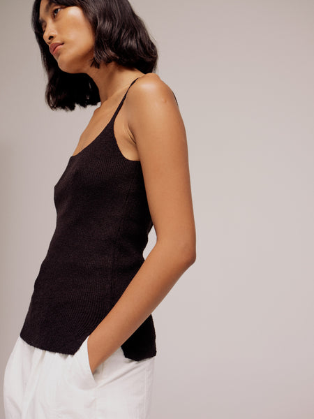 Mijeong Park Thin Ribbed Sleeveless Knit Top - Black