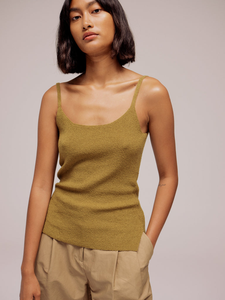 Mijeong Park Thin Ribbed Sleeveless Knit Top - Olive