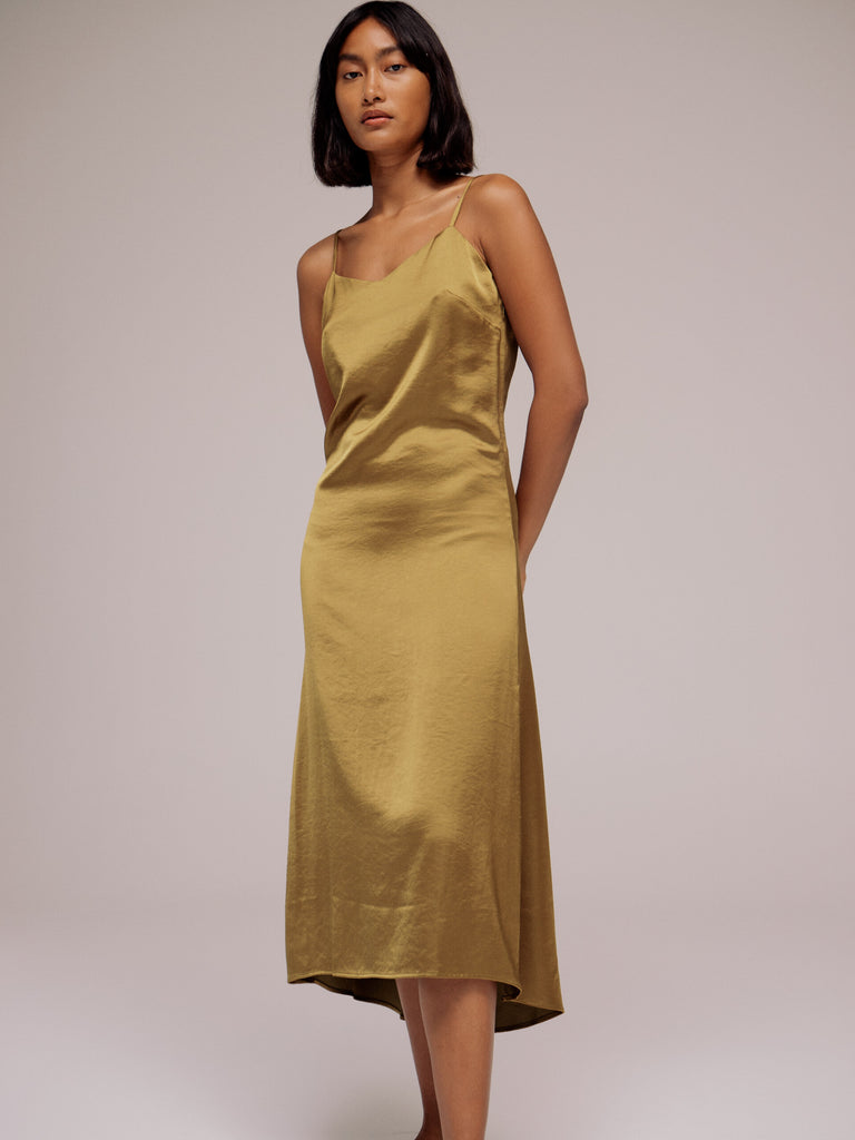 Mijeong Park Satin Slip Dress - Olive