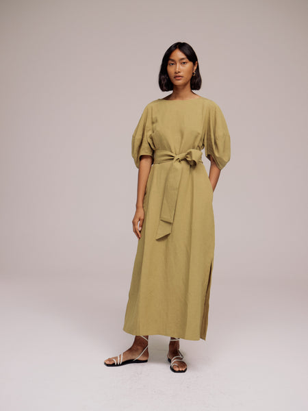 Mijeong Park Balloon Sleeve Maxi Dress - Olive