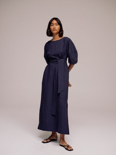 Mijeong Park Balloon Sleeve Maxi Dress - Navy