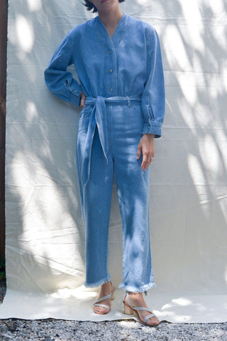 Nanushka Prya Balloon Sleeve Denim Jumpsuit - Light Blue