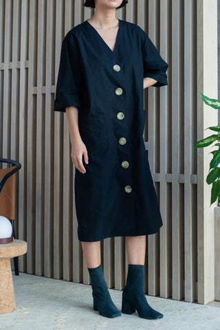 Selection PM Button Down Robe Dress - Black Cotton
