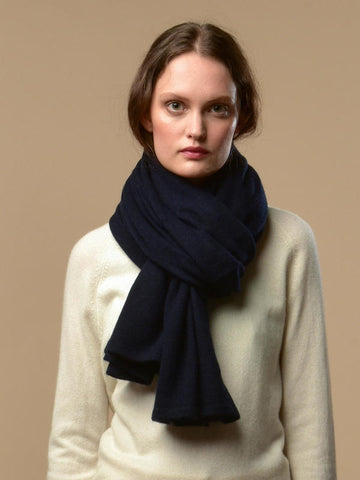 Pure Cashmere Oversized Scarf - Dark Navy