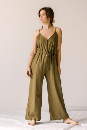 Ozma Cypress Playsuit - Olive Silk Noil
