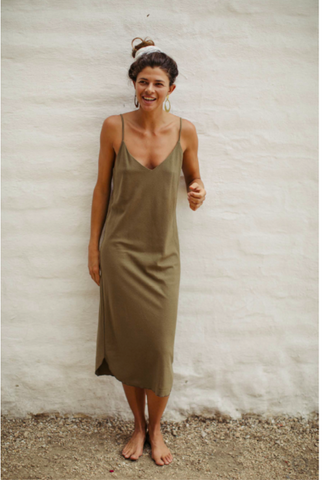 Ozma Bias Slipdress - Olive