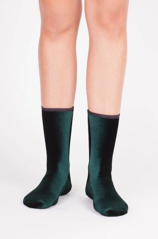 Simone Wild Velvet Ankle Socks - Forest Green