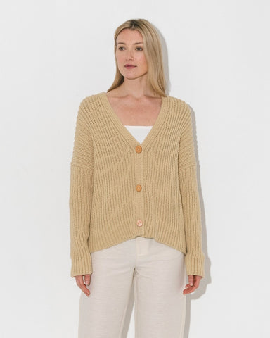 Lauren Manoogian Rib Boucle Cardigan - Straw